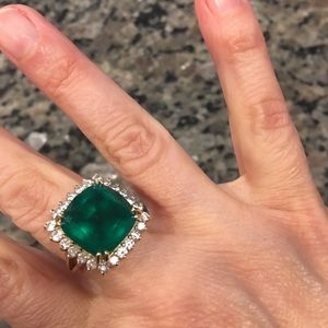 14k gold stamped synthetic emerald and CZ ring